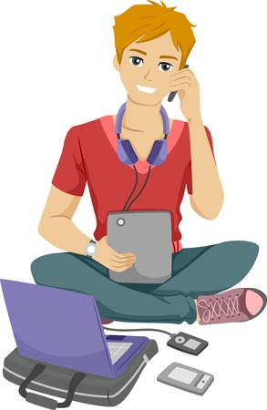 Illustration of a Male Teenager Surrounded by Different Electronic Gadgets Vector