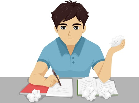 Illustration of a Male Teenager Having Trouble with His Homework