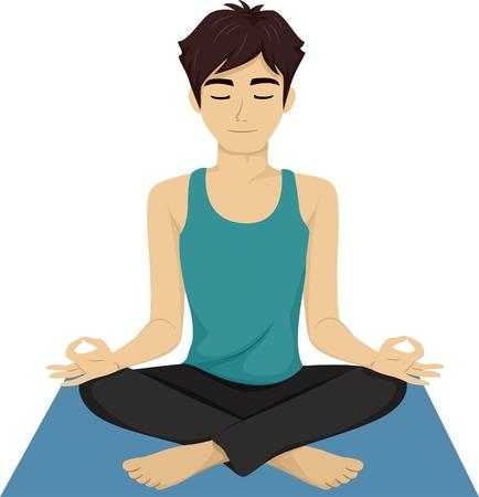 cartoon mensen: Illustratie van een Man Teen Doet Yoga Stock Illustratie