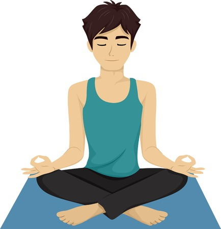 Illustration of a Male Teen Doing Yoga