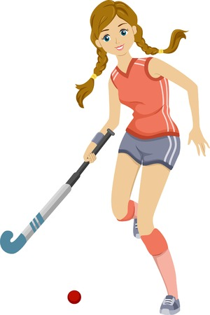 field hockey: Illustration of a Teenage Girl Playing Field Hockey