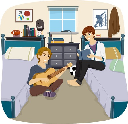 Illustration of a Pair of Male Roommates Passing the Time Together Ilustrace