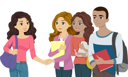 freshmen: Illustration Featuring Freshmen Acquainting Themselves with One Another Illustration