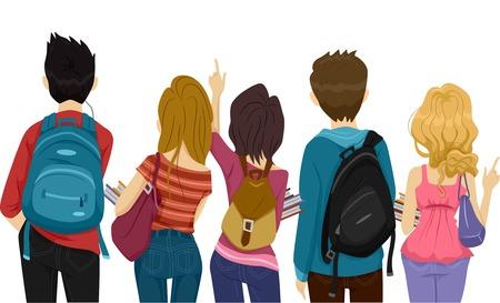 colegios: Vista trasera Ilustraci�n de estudiantes universitarios que se dirig�an a la escuela