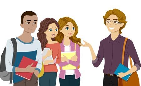 Illustratie van Teenage Studenten Meeting Hun professor