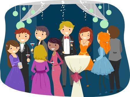 プロムの夜急激に服を着る十代の若者たちをフィーチャーの図