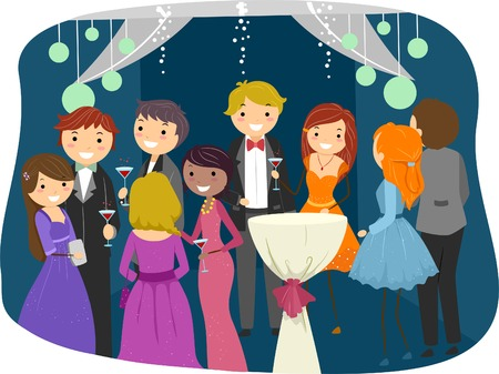 party people: Illustration Featuring Teens Dressed Sharply for Prom Night