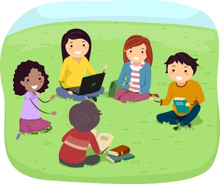 Illustration of Teens Having a Discussion in the Park