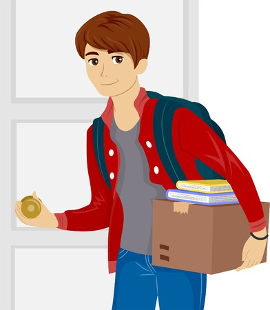 dorm: Illustration of a Male Teen Moving into a New Dorm Room