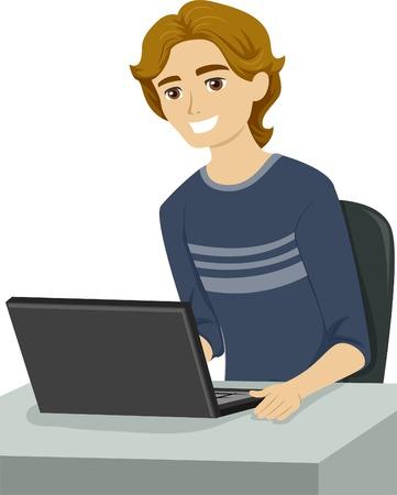 Illustration von einem männlichen Teenager einigen Forschung mit seinem Laptop