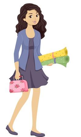 Illustration von einem Teenager-Mädchen mit einem Nähset