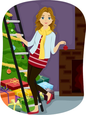 Illustration of a Teenage Girl Opening Her Rooms Windows Vector