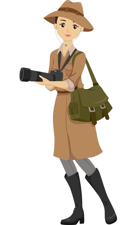 hobbyist: Illustration of a Teenage Girl Dressed in a Safari Outfit Holding a DSLR Camera