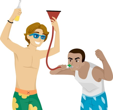 goofing: Illustration of Male Teens Fooling Around with a Beer Funnel Illustration
