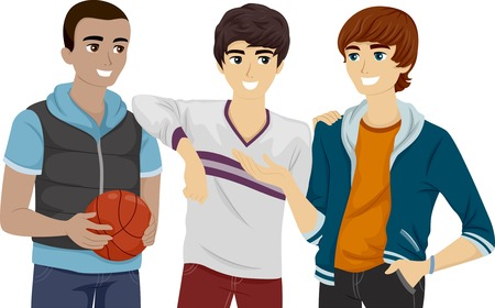 Illustration of a Group of Male Teens Hanging Out