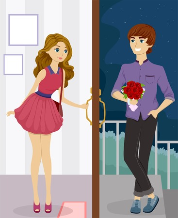 doorstep: Illustration of a Pretty Girl Meeting Her Date at the Doorstep