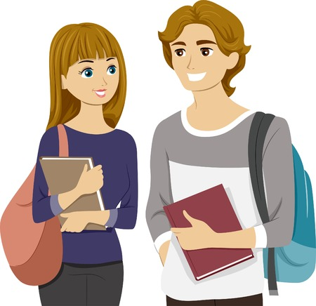 Illustration of a Teen Couple Chatting at School Vector