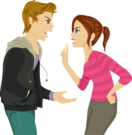 Illustration of a Pair of Teen Siblings Arguing Vector