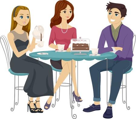 amigo: Ilustraci�n de los adolescentes que comen caf� Juntos Vectores