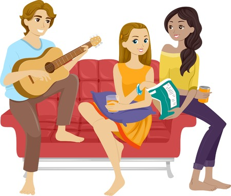 dorm: Illustration of Teenage Friends Hanging Out Together