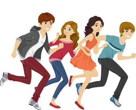 Illustration of Teens Running