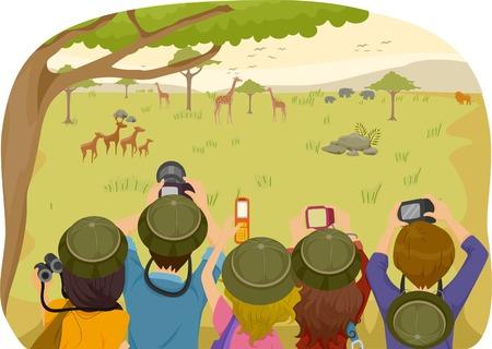 animales del desierto: Ilustración de los adolescentes en un safari Vectores