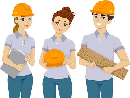 preadult: Illustration of Teens Doing Volunteer Work Illustration