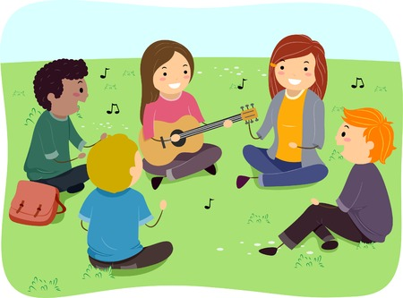 singing: Illustration of a Group of Teens Singing