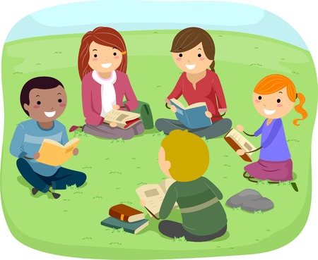 hanging out: Illustration of Teenagers Reading Books in the Park