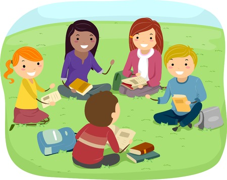 discussion: Illustration of Teenagers Having a Discussion in the Park