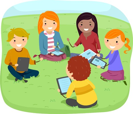 Illustration of Teens Having a Discussion in the Park Vector