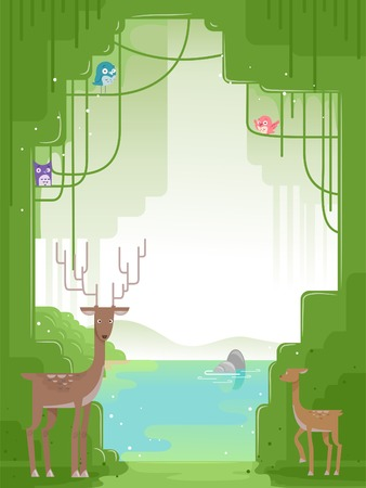 forest clipart: Background Illustration Featuring Forest Animals