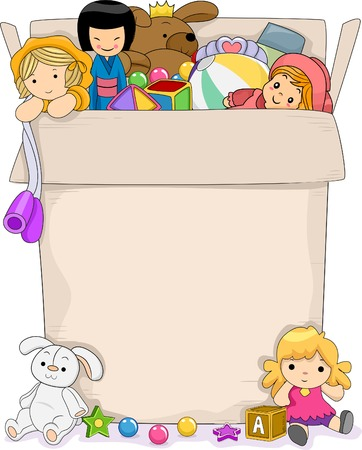 toys clipart: Background Illustration Featuring a Box Full of Toys for Girls Illustration