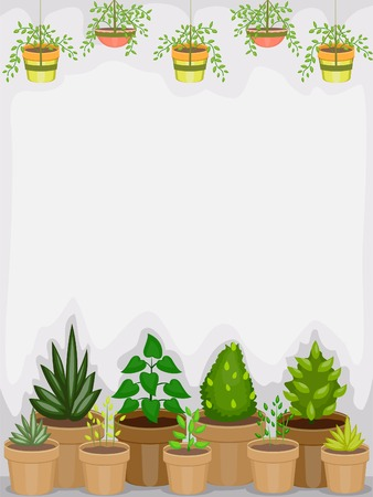 the greenhouse: Background Illustration of a Greenhouse Housing Different Types of Plants