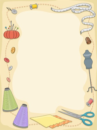 Background Illustration Featuring Different Sewing Materials Vector