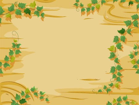 slab: Background Illustration Featuring a Wooden Slab with Vines Growing Around it