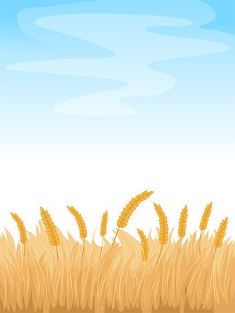 Background Illustration Featuring a Wheatfield Under a Clear Blue Sky Vector