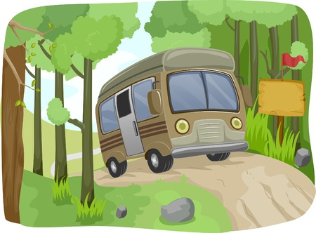 dirt road: Illustration of a Bus Passing a Blank Sign on a Dirt Road Illustration