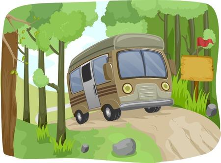 Illustrazione di un autobus di passaggio un segno in bianco su una strada sterrata