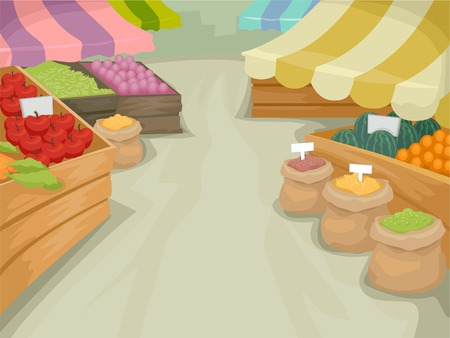 farmers market: Illustration Featuring a Market Selling Different Kinds of Produce