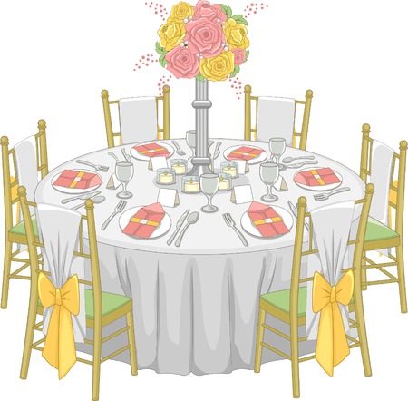 Illustration of a Formal Table Set-up at a Reception Hall Vector