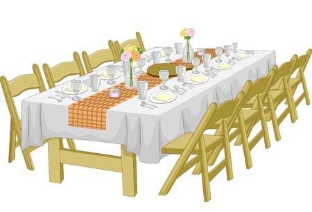 예행 연습: Illustration Featuring an Informal Rehearsal Dinner  Wedding Reception