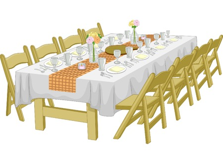 wedding table setting: Illustration Featuring an Informal Rehearsal Dinner  Wedding Reception