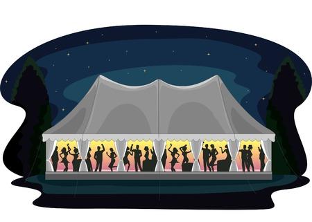 テント党で祝われる結婚披露宴のイラスト