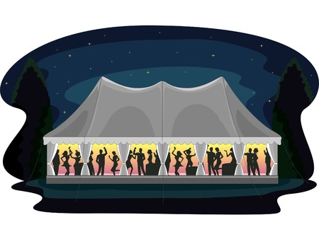 Illustration of a Wedding Reception Celebrated Through a Tent Party