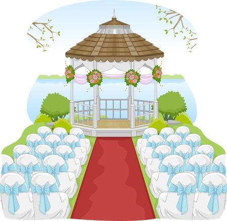 Illustration d'un mariage jardin Doté d'un Gazebo