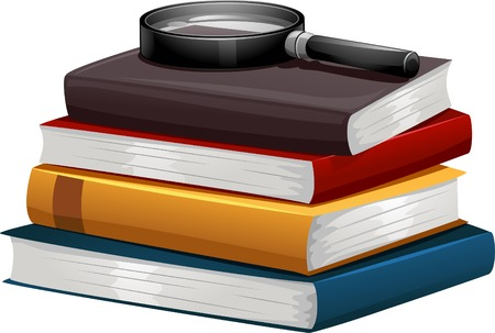 investigative: Illustration of a Stack of Books with a Magnifying Glass on Top Illustration