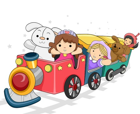 rag: Illustration of a Toy Train Carrying Different Toys for Girls