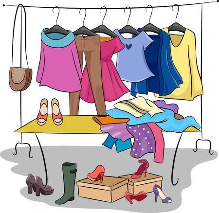 moda ropa: Ilustración con diversos artículos de ropa y accesorios para las Partes Intercambia Moda
