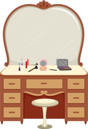 ladenkast: Illustratie van een kaptafel met Make Up Around Verspreid Stock Illustratie